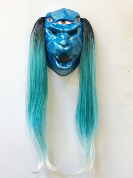Zadie Xa, Xixho, 2018. Plaster, polymer with water-based resin, oil and acrylic and synthetic hair. 75cm x 26cm x 15cm. Courtesy of the artist and Union Pacific Gallery