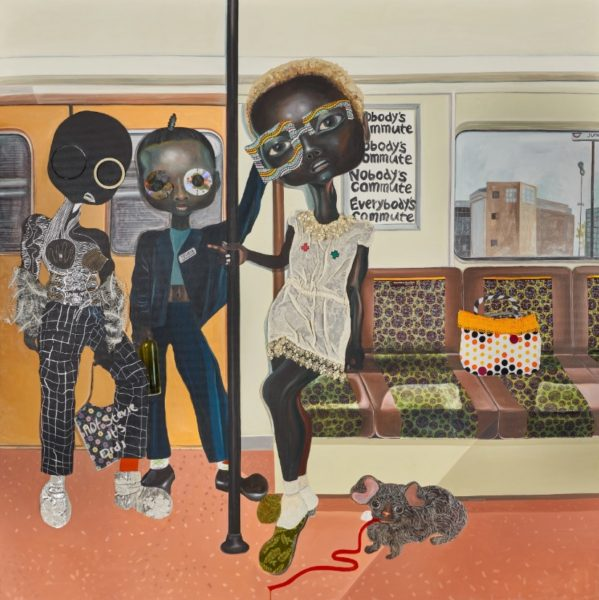 Ndidi Emefiele, somebody's commute, 2018. Acrylic, print textile, silver marker, colour pencil, pasted printed paper, compact disk, plastic trim on canvas, 210x210cm. Courtesy of the artist and Rosenfeld Porcini