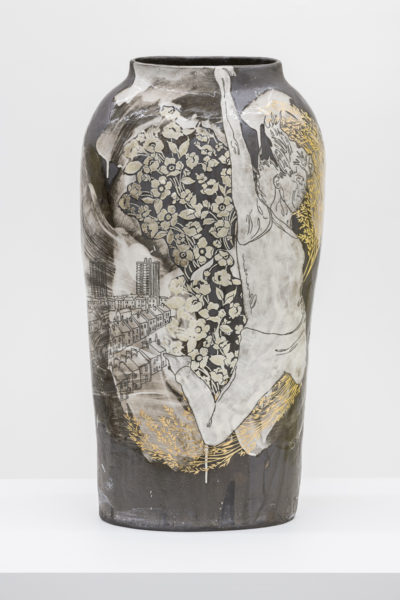 Emilie Taylor, Torso I, 2018, 34 x 74 x 12cm, slip decorated stoneware with bespoke 9ct gold transfers. (front). Courtesy the artist and Bosse & Baum. Photo credit: Damian Griffiths