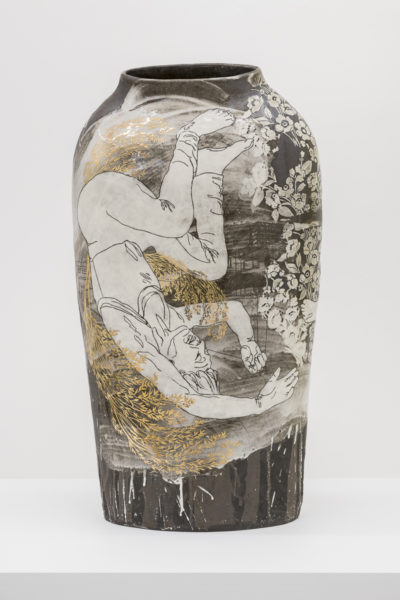 Emilie Taylor, Torso II, 2018, 34 x 74 x 12cm, slip decorated stoneware with bespoke 9ct gold transfers. (front). Courtesy the artist and Bosse & Baum. Photo credit: Damian Griffiths