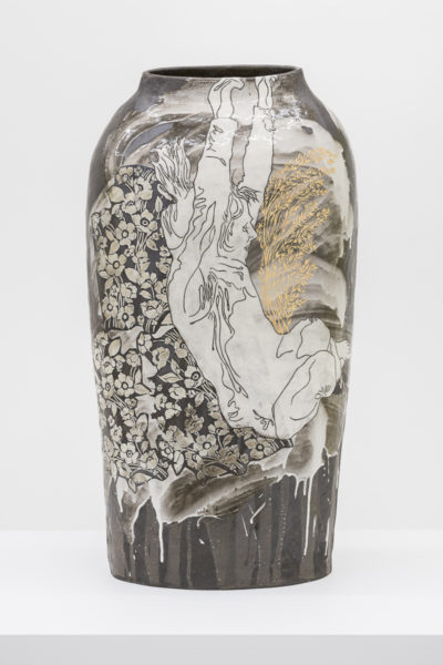 Emilie Taylor, Torso IV, 2018, 34 x 74 x 12cm, slip decorated stoneware with bespoke 9ct gold transfers. (front). Courtesy the artist and Bosse & Baum. Photo credit: Damian Griffiths