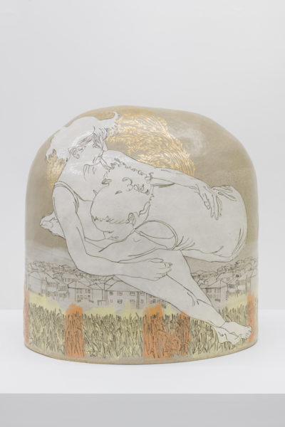 Emilie taylor, Boulder I, 2018, 60 x 55 x 35cm, slip decorated stoneware with oxides and bespoke 9ct gold transfers.(front). Courtesy the artist and Bosse & Baum. Photo credit: Damian Griffiths