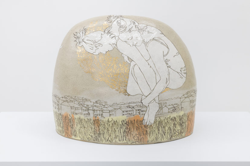 Emilie taylor, Boulder II, 2018, 60 x 55 x 35cm, slip decorated stoneware with oxides and bespoke 9ct gold transfers.(front). Courtesy the artist and Bosse & Baum. Photo credit: Damian Griffiths