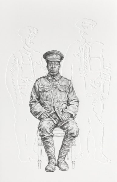 Barbara Walker, All the Kings Men (2018), from Shock and Awe series (2015-present). Graphite on embossed paper, 63.1 x 46.4 cm. Courtesy of Alan Cristea Gallery. Photo credit: Chris Keenan