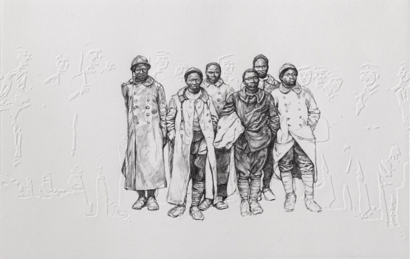 Barbara Walker, Backdrop (2018), from Shock and Awe series (2015-present). Graphite on embossed paper, 58.0 x 38.0 cm. Courtesy of Alan Cristea Gallery. Photo credit: Chris Keenan
