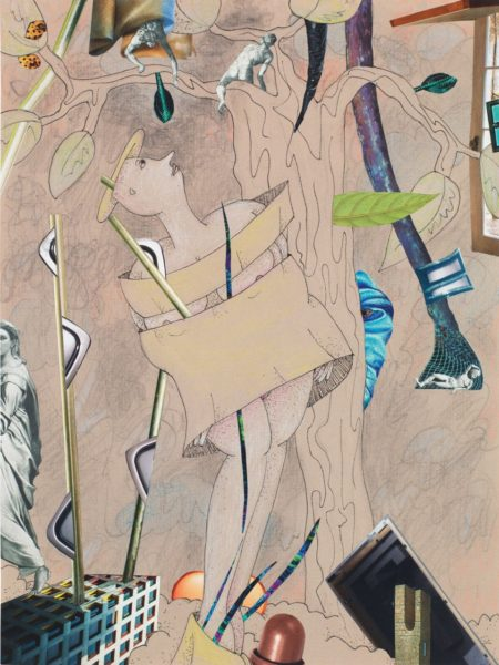 Gladys Nilsson, A Walk...#7, 2014, Mixed media on paper, 47.2 x 39.6 cm. Image courtesy the Artist, Garth Greenan Gallery and Hales Gallery. Copyright the Artist.
