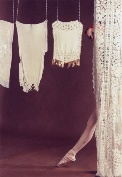 Rose English, Study for A Divertissement: Diana and Porcelain Lace Veil, 1973 (detail). Set of 5 cibachrome photographs. 30 x 21.5 cm each. Copyright the Artist. Courtesy Richard Saltoun Gallery, London.