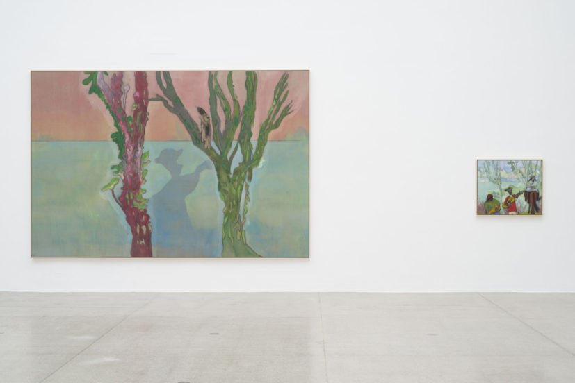 Peter Doig, 'Two Trees (Music)', 2019; 'Music (Two Trees)', 2019, installation view Secession 2019, photo: Hannes Böck, Courtesy the artist and Michael Werner Gallery, New York and London / Bildrecht Vienna, 2019