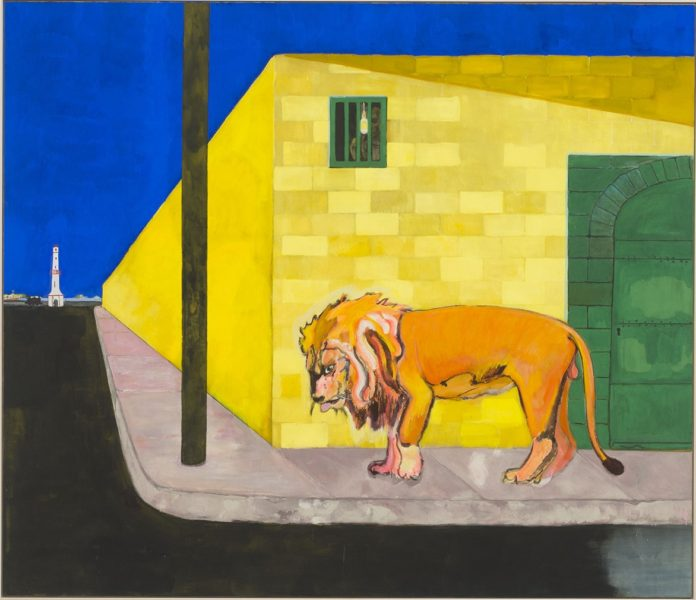 Peter Doig, 'Lion (Fire Down Below)', 2019, installation view Secession 2019, photo: Hannes Böck, Courtesy the artist and Michael Werner Gallery, New York and London / Bildrecht Vienna, 2019
