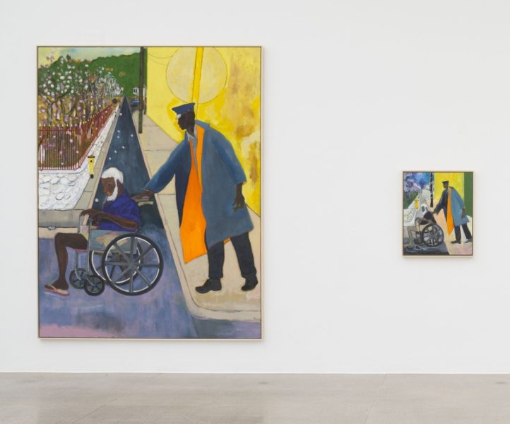 Image: Peter Doig, 'Untitled (Wheelchair)', 2019 and 'Untitled (Small Wheel Chair)', 2019, installation view Secession 2019. Photo: Hannes Böck, Courtesy the artist and Michael Werner Gallery, New York and London / Bildrecht Vienna, 2019