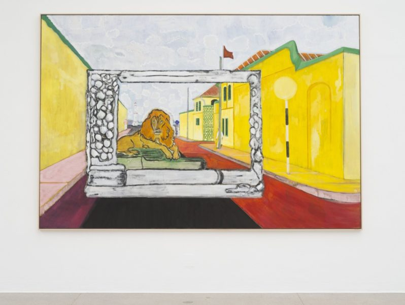 Peter Doig, 'Lion in the Road (Sailors)', 2019, installation view Secession 2019, photo: Hannes Böck, Courtesy the artist and Michael Werner Gallery, New York and London / Bildrecht Vienna, 2019