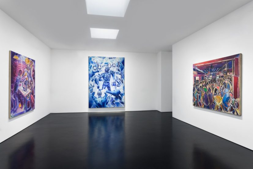 Installation view of 'Denzil Forrester: A Survey' at Stephen Friedman Gallery, London.