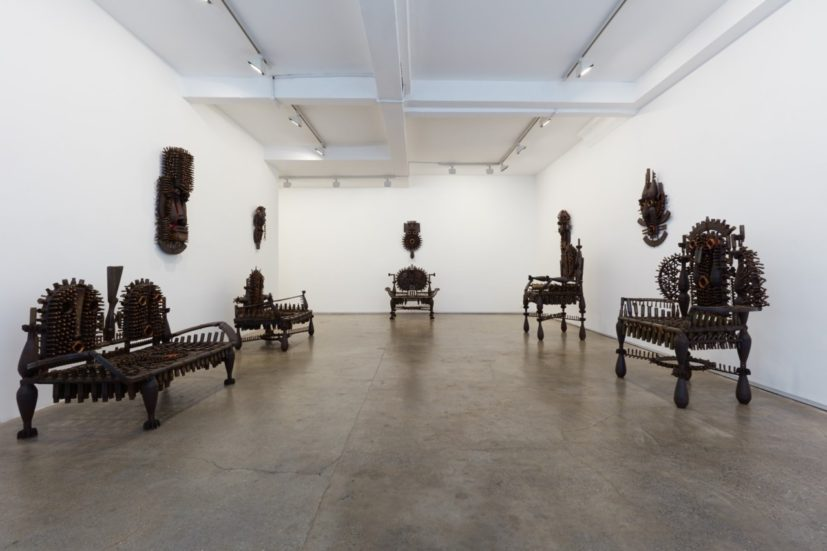 Installation view of 'Gonçalo Mabunda: Orator of Time' at Jack Bell Gallery, London. Courtesy of Jack Bell Gallery