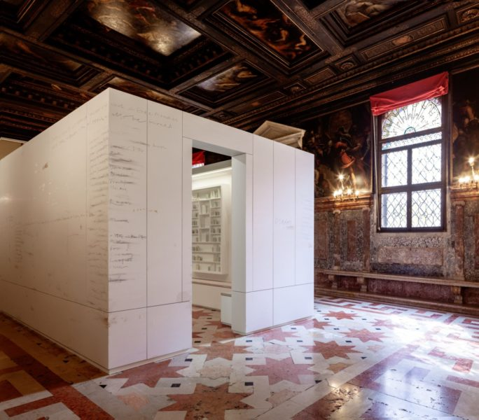 Edmund de Waal, 'the library of exile' (2019) at Ateneo Veneto. Part of 'psalm', an exhibition in two parts at the Jewish Museum and Ateneo Veneto, Venice. © Edmund de Waal. Courtesy of the artist. Photo: Fulvio Orsenigo