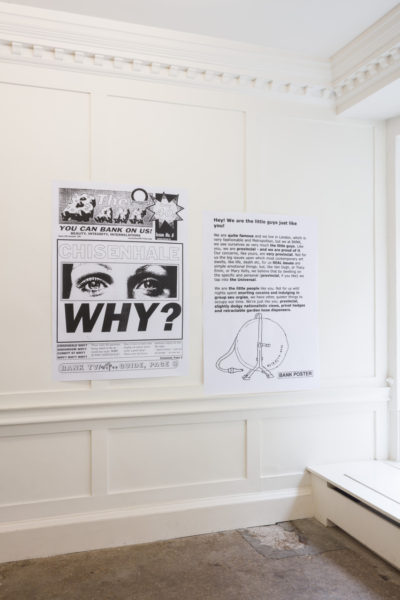 Installation view, including 'Chisenhale Why?', 1996/2019 and 'Hose', 1999/2019. Courtesy the Artists and Piper Keys. Photography: Mark Blower
