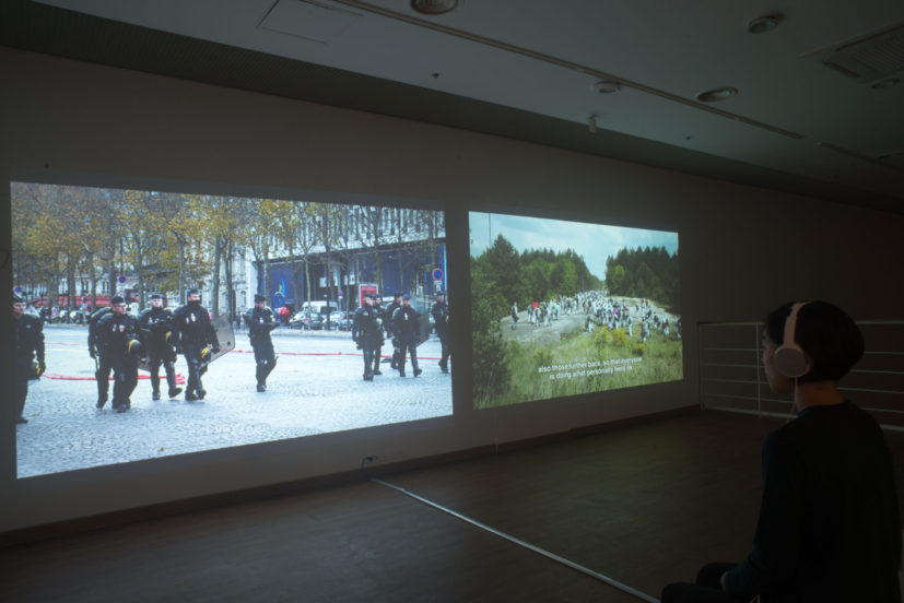 "Oliver Ressler, ""Everything's coming together while everything's falling apart"", 2-channel video installation (Installation view: Jeju Biennale 2017; photo: courtesy Jeju Biennale)"