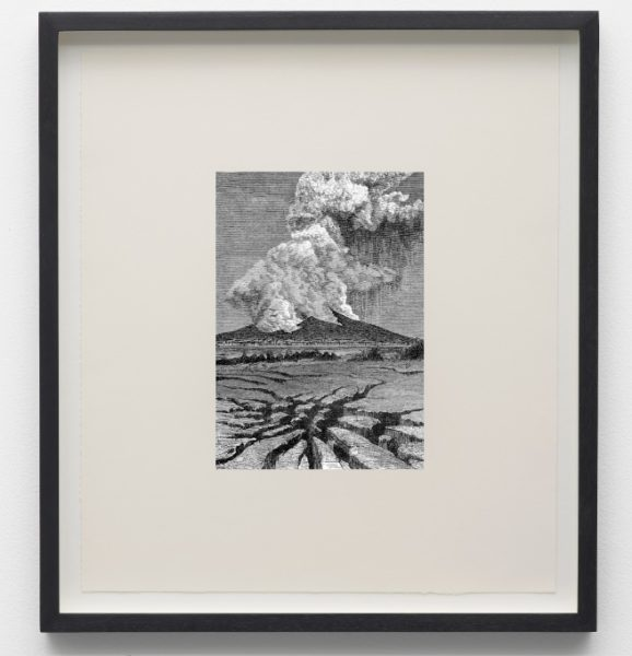Salvatore Arancio, 'Volcano Emitting Rapidly Expanding Gases Containing Millions Of Tons Of Rock Reduced To Powder By The Deflagration', 2009. Photo-etching on paper, 55 x 44 cm. Image courtesy the artist.