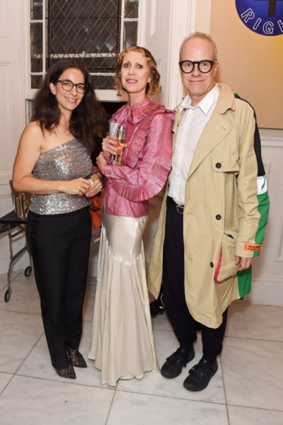 Lynn Saferty, MD of Montblanc UK, Valeria Napoleone and Hans Ulrich Obrist. Photographer: Lucy Stewart