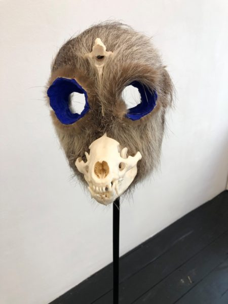 Joanna Rajkowska, Mask with Badger's Skull and Roe Deer's Vertebra, 2019. Papier-mâché, badger's skull, roe deer's vertebra, animal fur, wire, acrylic paint