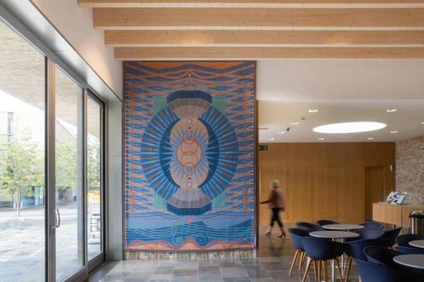 Installation view of 'Ripple-Marked Radiance (after Hertha Ayrton)', 2019 by Yelena Popova. Jacquard woven tapestry. Photograph © Robyn Butler
