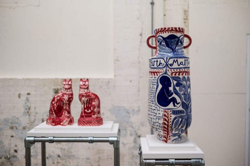 Dead Dad Book by Vicky Lindo and William Brookes, 2019. British Ceramics Biennial at Spode China Hall, photograph Jenny Harper