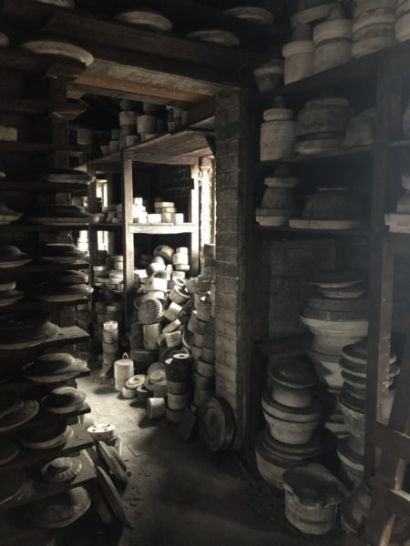 Stacked plaster molds at Old Spode Works