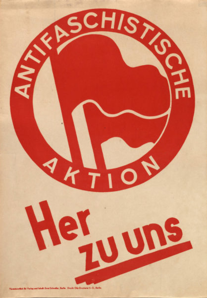 Schroeter und Berger, Antifaschistiche Aktion - Her zu uns // Anti¬fascist Action - Come to us, 2019. From an original draft by Max Gebhard and Max Keilson, 1932. Courtesy of the artists