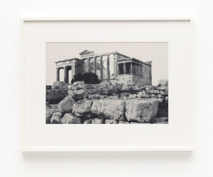 James Welling, Erechtheion. Western façade. Sacred olive, karyatids and old temple of Athena Polias in foreground, 2019. © James Welling, courtesy Maureen Paley, London