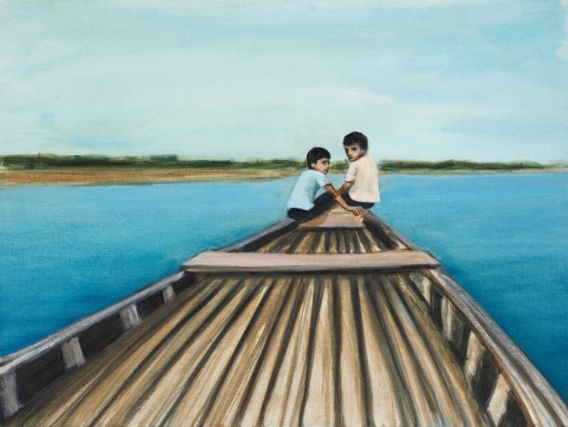Matthew Krishanu, Two Boys on a Boat, 2019. Photo: Peter Mallet
