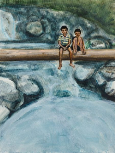 Matthew Krishanu, Two Boys on a Log, 2019. Photo: Peter Mallet