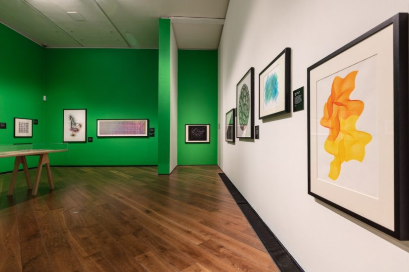 Installation view, Chance & Control: Art in the Age of Computers – Created by the V&A – touring the nation. Firstsite, 2019. Photograph by Anna Lukala