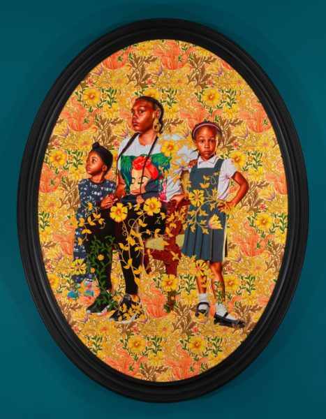 Kehinde Wiley, 'Portrait of Asia-Imani, Gabriella-Esnae, and Kaya Palmer', 2020. © Kehinde Wiley. Courtesy the artist and Stephen Friedman Gallery, London.