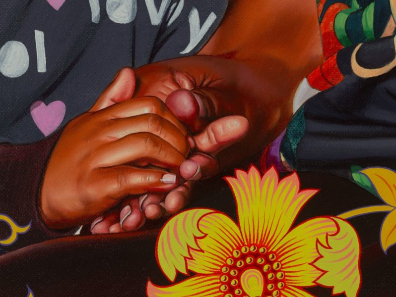 Kehinde Wiley, 'Portrait of Asia-Imani, Gabriella-Esnae, and Kaya Palmer' (detail), 2020. © Kehinde Wiley. Courtesy the artist and Stephen Friedman Gallery, London.