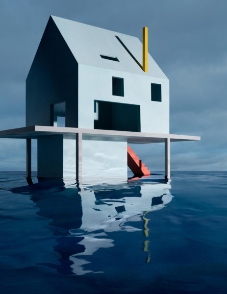 James Casebere, Blue House on Water #2, 2019. Copyright of the artist, Courtesy Templon, Paris & Brussels