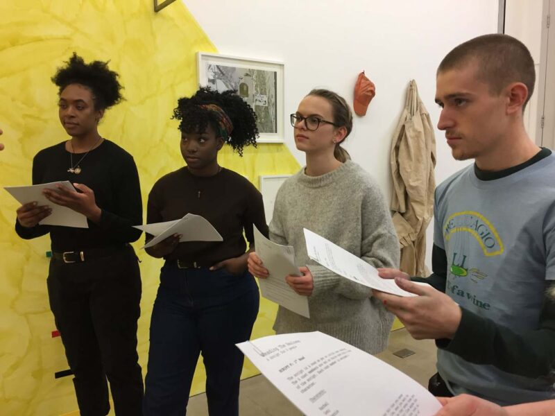 Harold Offeh, Reading the Realness, 2017. Performed at Tintype Gallery with six students from Kingston University. Image courtesy: the artist and Tintype Gallery. Photo: Jo Addison