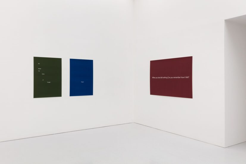 Installation View, Helen Cammock, I Decided I Want to Walk, Kate MacGarry, London, 2020. Photography by Angus Mill