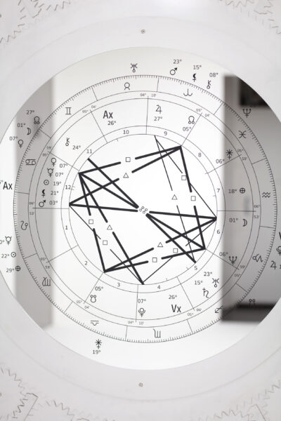 Sung Tieu, Detail of 'Natal Chart 12 July 1987, Sun 06:46 USZ6 - 07:00 Hai Duong, Vietnam 20°N56' 106°E19' Geocentric Tropical Porphyry True Node to 15 August 2020, Sat 09:46 USZ6 - 7:00 Hai Duong, Vietnam 20°N56' 106°E19' Geocentric Tropical Porphyry True Node', 2020. © Sung Tieu Courtesy of the artist and Emalin, London. Photography: Plastiques