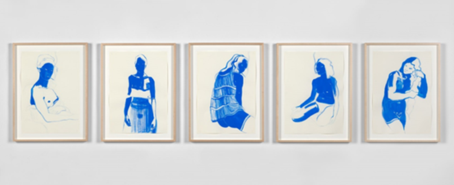Lisa Brice, Untitled 1 – 5, 2019. Gouache on paper, 41.9 x 29.6. Image courtesy the artist.