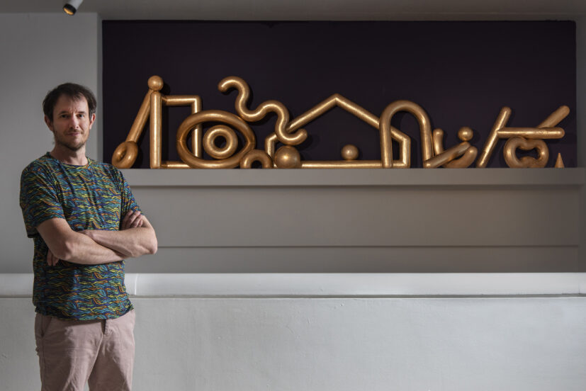 James Rigler with his work 'Old Money' 2020. Presented to GoMA, Glasgow, by the Contemporary Art Society through the Jackson Tang Ceramics Award, 2020/21