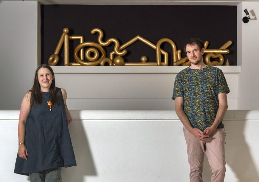 Katie Bruce, Producer Curator (GoMA) and James Rigler (artist) with his work 'Old Money' 2020. Presented to GoMA, Glasgow, by the Contemporary Art Society through the Jackson Tang Ceramics Award, 2020/21