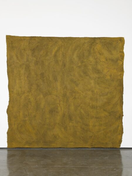 Francis Offman, Untitled, 2019. Acrylic, ink, coffee grounds and Bolognese plaster on cotton. Courtesy the artist and Herald St, London. Photo by Andy Keate.