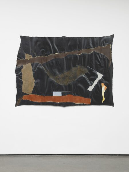 Francis Offman, Untitled, 2019. Acrylic, ink, paper and Bolognese plaster on cotton. Courtesy the artist and Herald St, London. Photo by Andy Keate.
