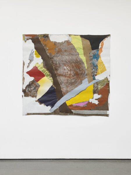 Francis Offman, Untitled, 2021. Acrylic, ink, paper, red brick dust and Bolognese plaster on cotton. Courtesy the artist and Herald St, London. Photo by Andy Keate.