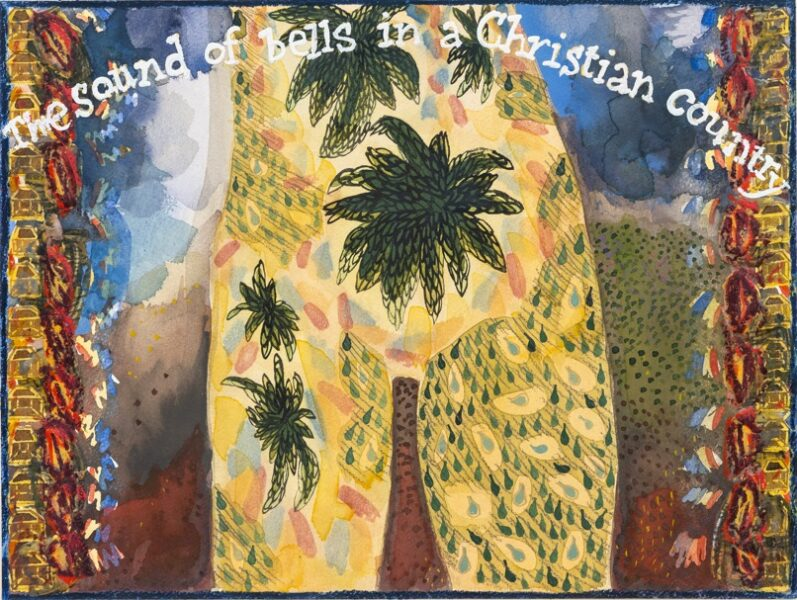 Jade Montserrat, 'The Sound of Bells in a Christian Country', 2017-21. Watercoulor, gouache, pencil, oil pastel, masking fluid on paper, 31 x 41 cm. Courtesy the artist and Bosse and Baum