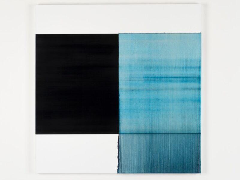 Callum Innes, 'Exposed Painting Paris Blue', 2019. Oil on linen, 120 x 118 cm. Courtesy the artist and Frith Street