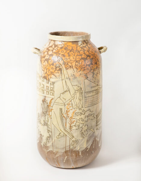 Emilie_Taylor_(One large figure reaching up) 'May Day May Day II' Slip decorated handbuilt stoneware with oxide and bespoke gold transfers 75x34x34cm 2020