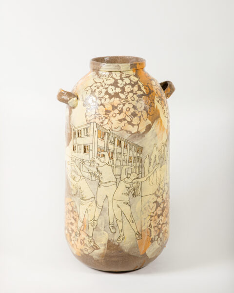 Emilie Taylor, 'May Day May Day I', 2020. Slip decorated handbuilt stoneware with oxide and lustre, 80 x 35 x 35 cm. Courtesy the artist and Bosse and Baum