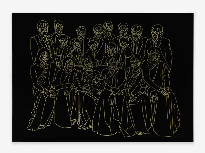 Hetain Patel, Baa's Gold (Family portrait), 2021. Acrylic and lacquer on board, 89 x 125cm. Photo: Eva Herzog. Courtesy the artist & Copperfield, London