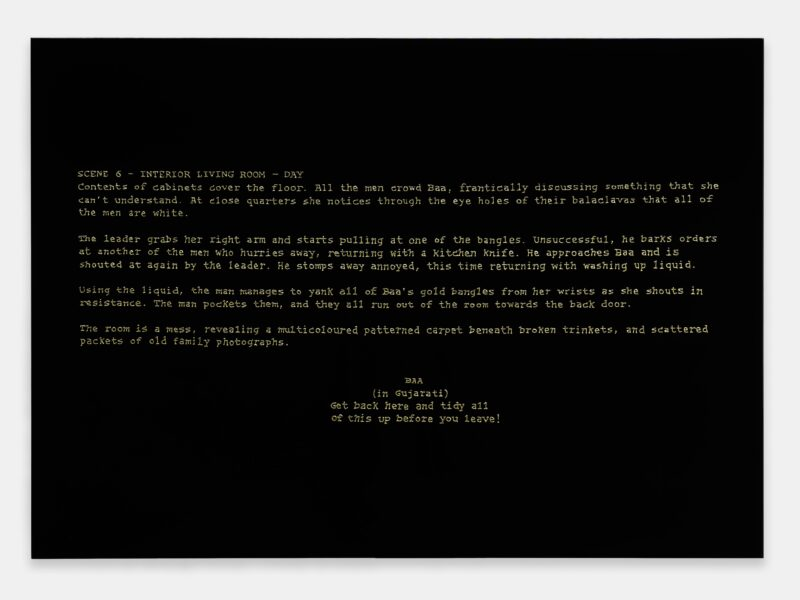 Hetain Patel, Baa's Gold (Screenplay), 2021. Acrylic and lacquer on board, 89 x 125cm. Photo: Eva Herzog. Courtesy the artist & Copperfield, London