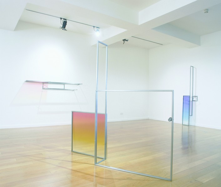 Installation of works at Angel Row Gallery, Nottingham. l-r: Reaching Out From Here, 2004; Leisure And Industry, 2005; The Pursuit Of Happiness, 2005
